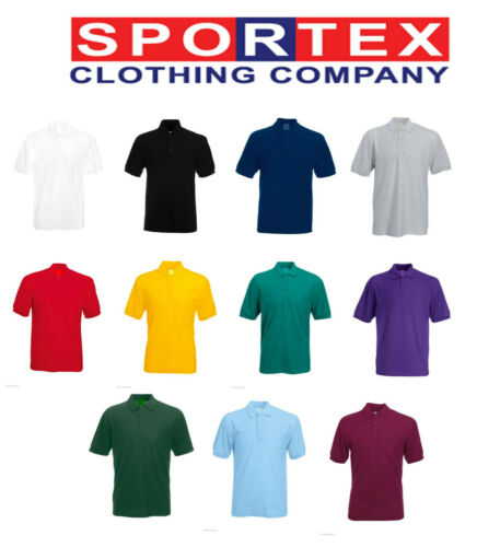 Fruit of the Loom Style Polo Shirt Plain Short Sleeve Unisex Kids Polo TShirt