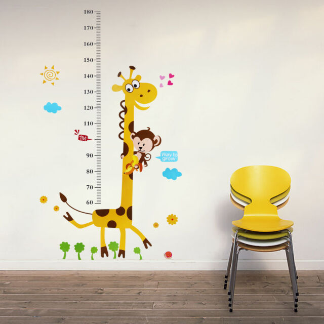 Giraffe Monkey Removable Vinyl Wall Decal Stickers Kid Baby Height Chart Measure