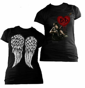 Ladies-Walking-Dead-Daryl-Dixon-Heart-Wings-Licensed-Tee-T-Shirt-Womens
