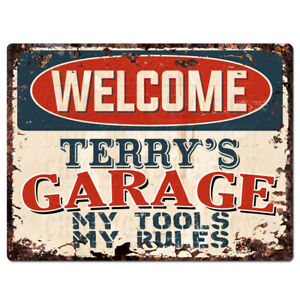 PPWG0057-WELCOME-TERRY-039-S-GARAGE-Chic-Sign-man-cave-decor-Funny-Gift