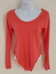 Womens-Long-Sleeve-Stretch-Bodysuit-Ladies-Body-Top-Tshirt-Size-M-L
