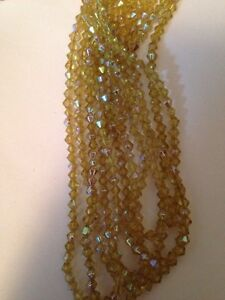 1 Strand 15 Each Light Yellow AB Finish 4mm Bicone Glass Beads L@@K SALE