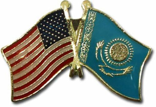 USA American Kazakhstan Friendship Flag Bike Motorcycle Hat Cap lapel Pin