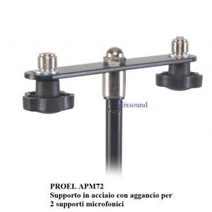 PROEL APM72 Supporto in acciaio con aggancio per 2 supporti microfonici