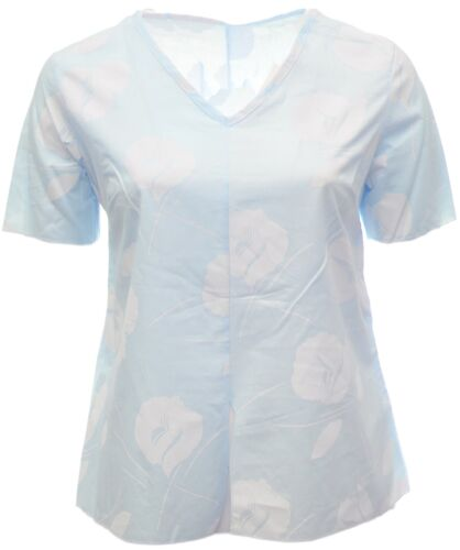 Womens New Fitted T-shirt Blue White Top Ladies Summer Top Split Cap Sleeves