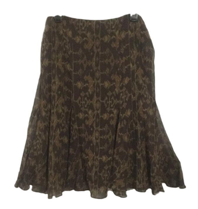 Ralph Lauren Silk Blend Casual Dress Skirt Size 8 Brown Beige Geometric Pattern
