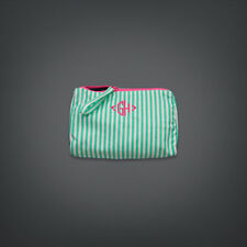 GILLY HICKS HOLLISTER ABERCROMBIE & FITCH MINT STRIPE MAKEUP WASH BAG!