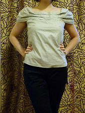 Emporio Armani light grey boat neck  cotton blouse top IT size 38/ UK Size 8