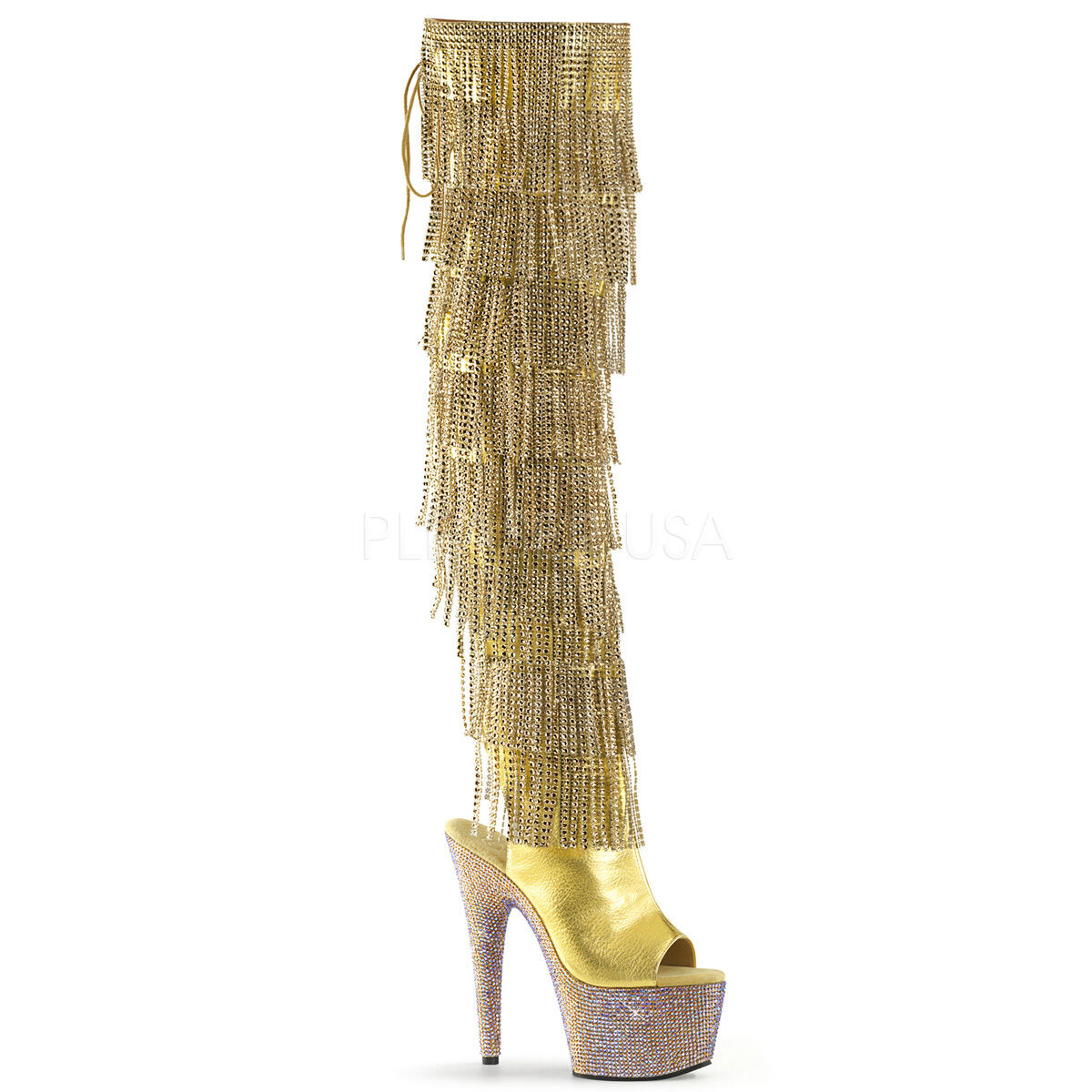 Bejeweled 3019 gold Fringe Thigh High Boot 7  Heel Rhinestone Platform 5-10