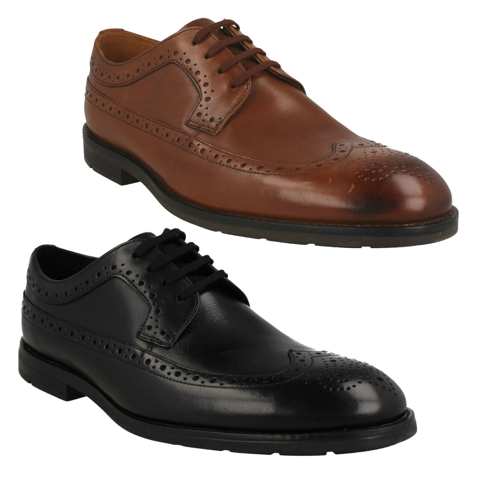 RONNIE LIMIT MENS CLARKS LEATHER FORMAL WEDDING LACE UP OCCASION WING TIP SHOES