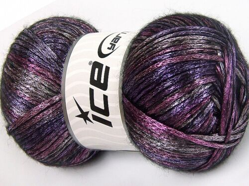 Glam Universe Ice #64597 Pink Purple Black 100gr Nylon Wool Shiny Fuzzy Yarn