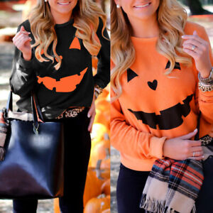 Womens-Halloween-Pumpkin-Print-Long-Sleeve-Sweatshirt-Pullover-Tops-Blouse-Shirt
