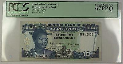 Paper Money: World Coins & Paper Money Brilliant 1.4.2006 Swaziland Central Bank 10 Emalangeni Note Scwpm#29c Pcgs Gem New 67 Ppq