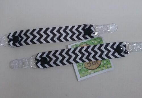 Pair MITTEN CLIPS Black /& White chevrons ribbon glove savers girl boy kids gift