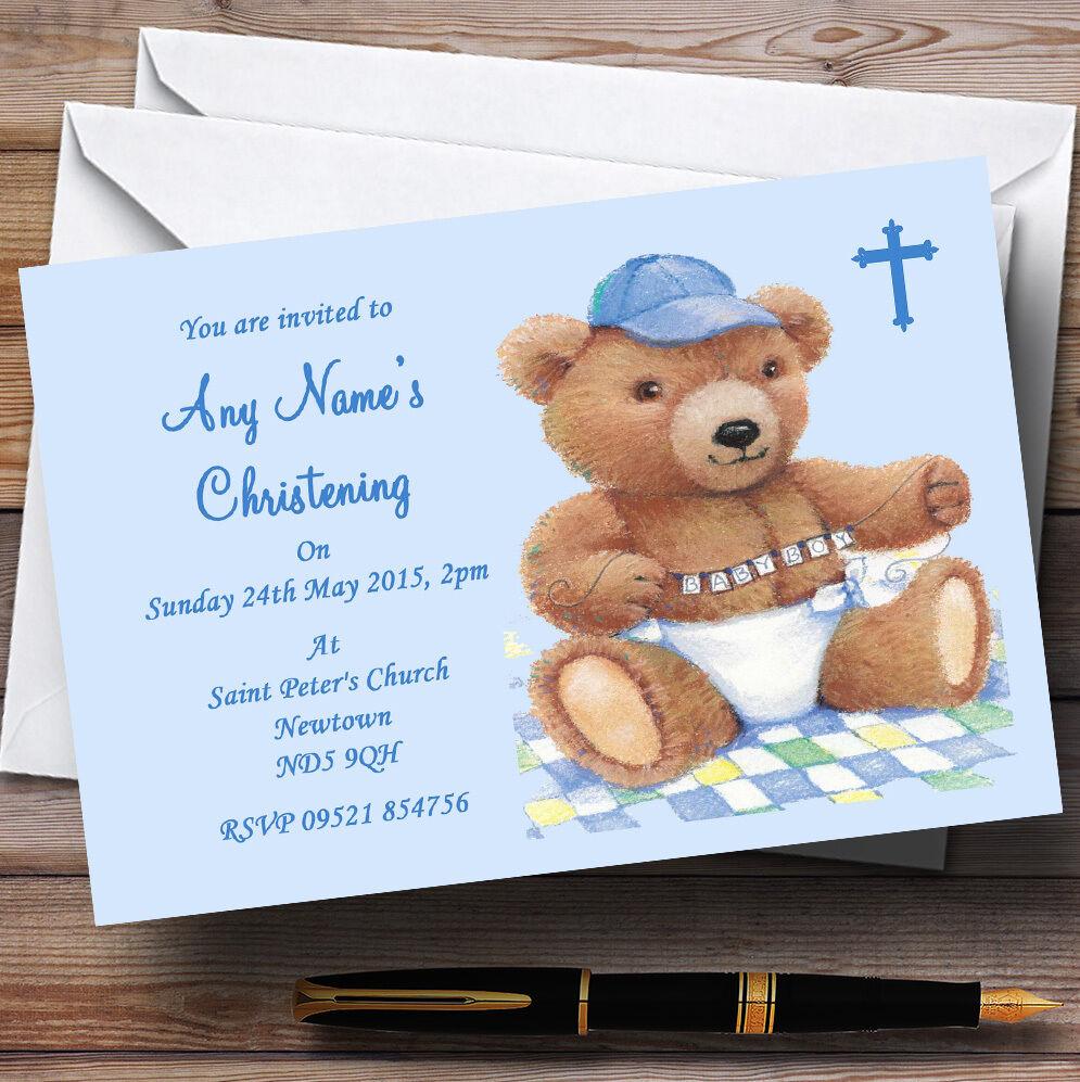 Bleu Teddy bébé garçon Teddy Bleu baptême party invitations personnalisées 81155a