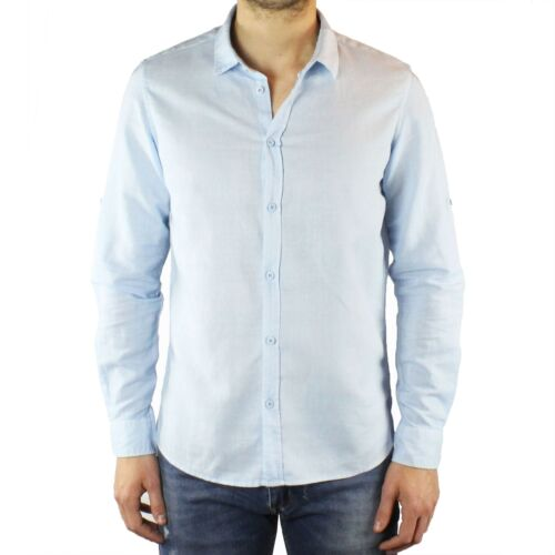 Camicia Uomo Lino Celeste Slim Fit Manica Lunga Estiva Sartoriale Elegante