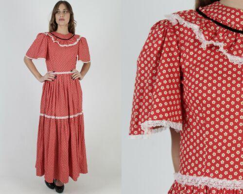 Vintage 70s Americana Folk Dress Country Prairie R