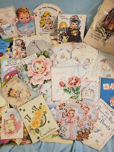 Antique-2-Vintage-Lot-Greeting-Cards-Stamps-amp-Envelopes-Ephemera-Baby-Get-Well