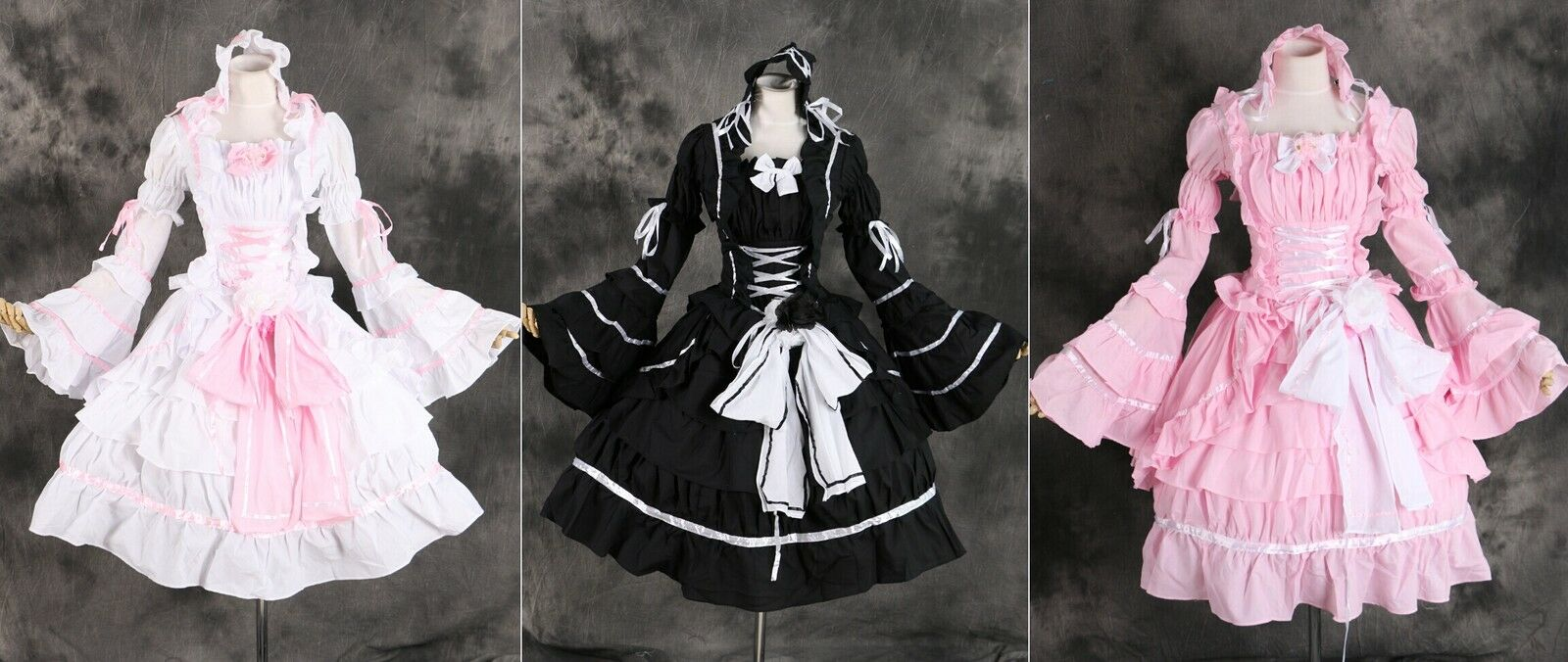 M-3109 Gothic Classic Lolita Sleeves Removeable Cosplay Costume Dress