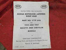 1957 1958 Chrysler DeSoto Power Antenna Installation Instructions - OEM Document