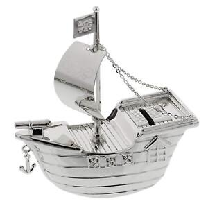 Image Is Loading Pirate Ship Money Box Silverplated Boat Gift
