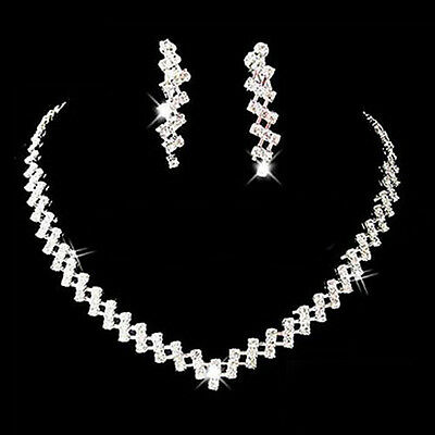 New Prom Wedding Bridal Crystal Rhinestone Necklace Earring Jewelry Set Hot