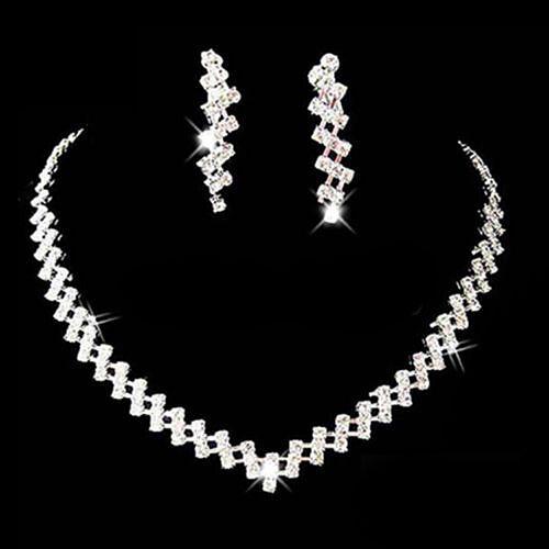 New Prom Wedding Bridal Crystal Rhinestone Necklace Earring Jewelry Set Hot