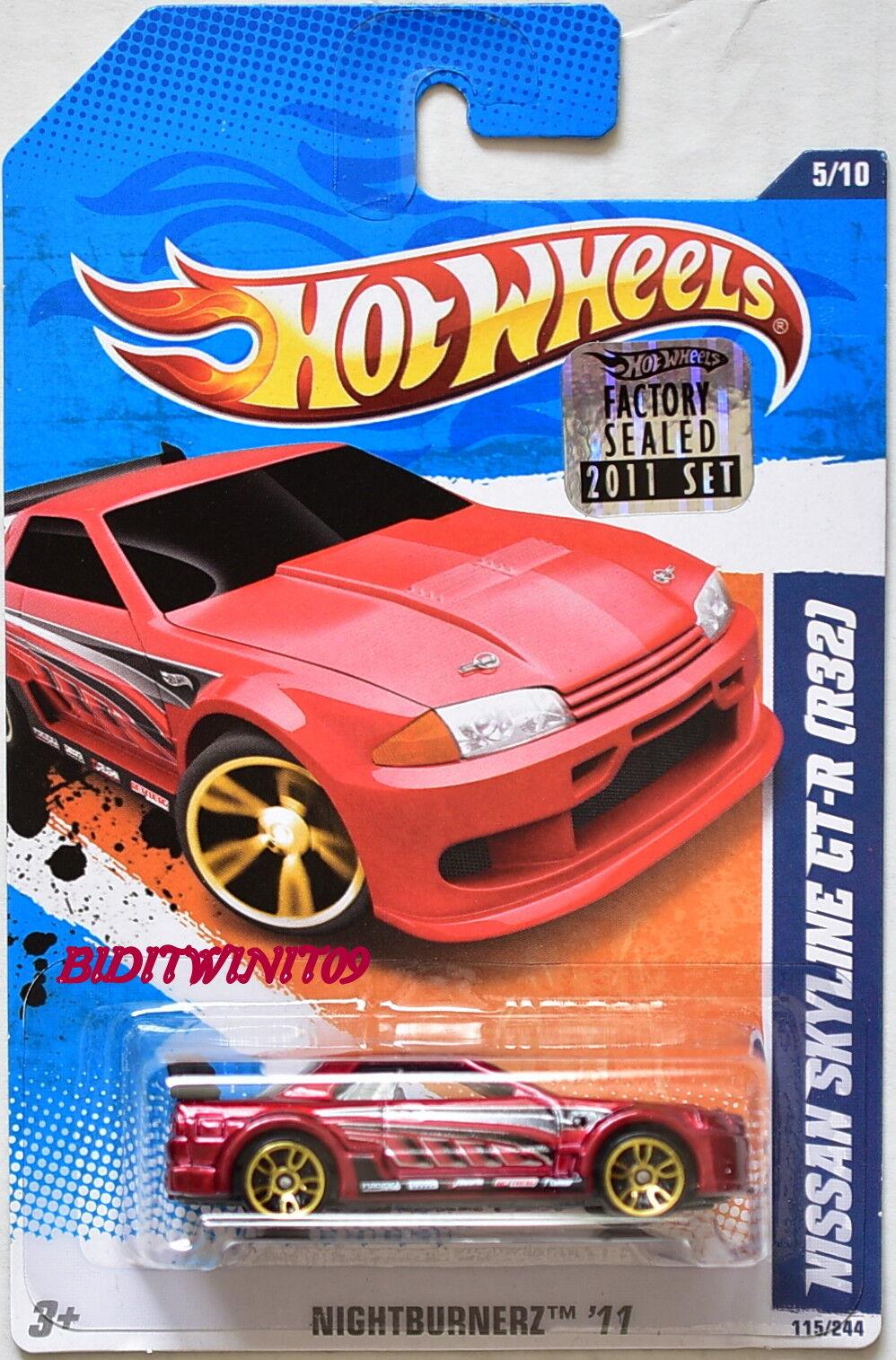HOT WHEELS 2011 NIGHTBURNERZ NISSAN SKYLINE GT-R (R32) RED FACTORY SEALED W+