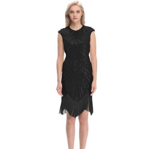 20s Dress Gatsby Charleston Deco Beaded Sequin Fringed 20s Party Costume Black