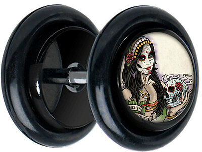 """Pair of  /""""Barbarann/""""Day of the Dead CHEATER FAKE EAR GAUGES PLUGS EARRING 5105"""