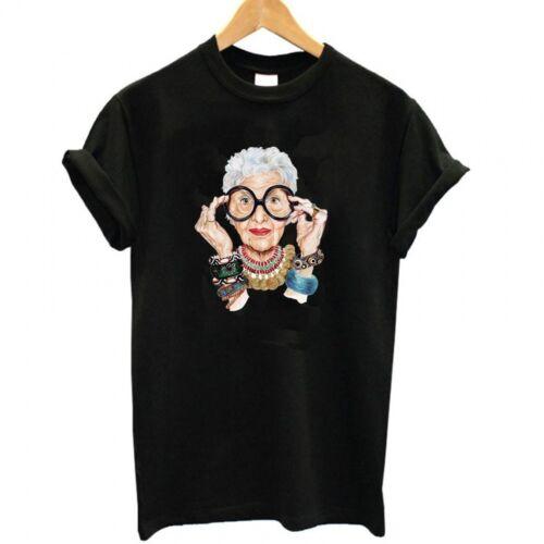 New IRIS APFEL Graphics Vintage Vogue Karl Lagerfeld Polo Tee Shirt Top T-SHIRT