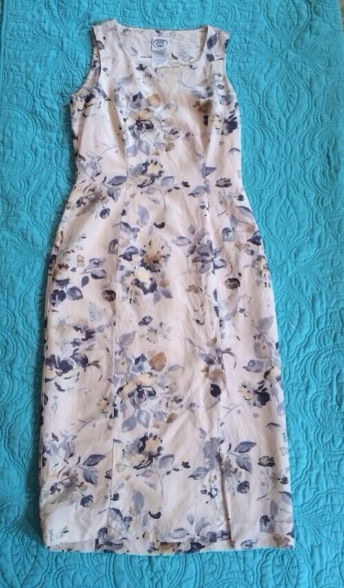 Pretty LAURA ASHLEY Silk & Linen Floral Dress (EUC) -- Women's SIZE 6 US/ 10(UK)
