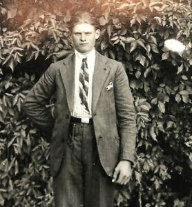 VTG-c-1915-1920s-RPPC-Postcard-Young-Man-in-Suit-amp-Tie-Pocket-Watch-Antique