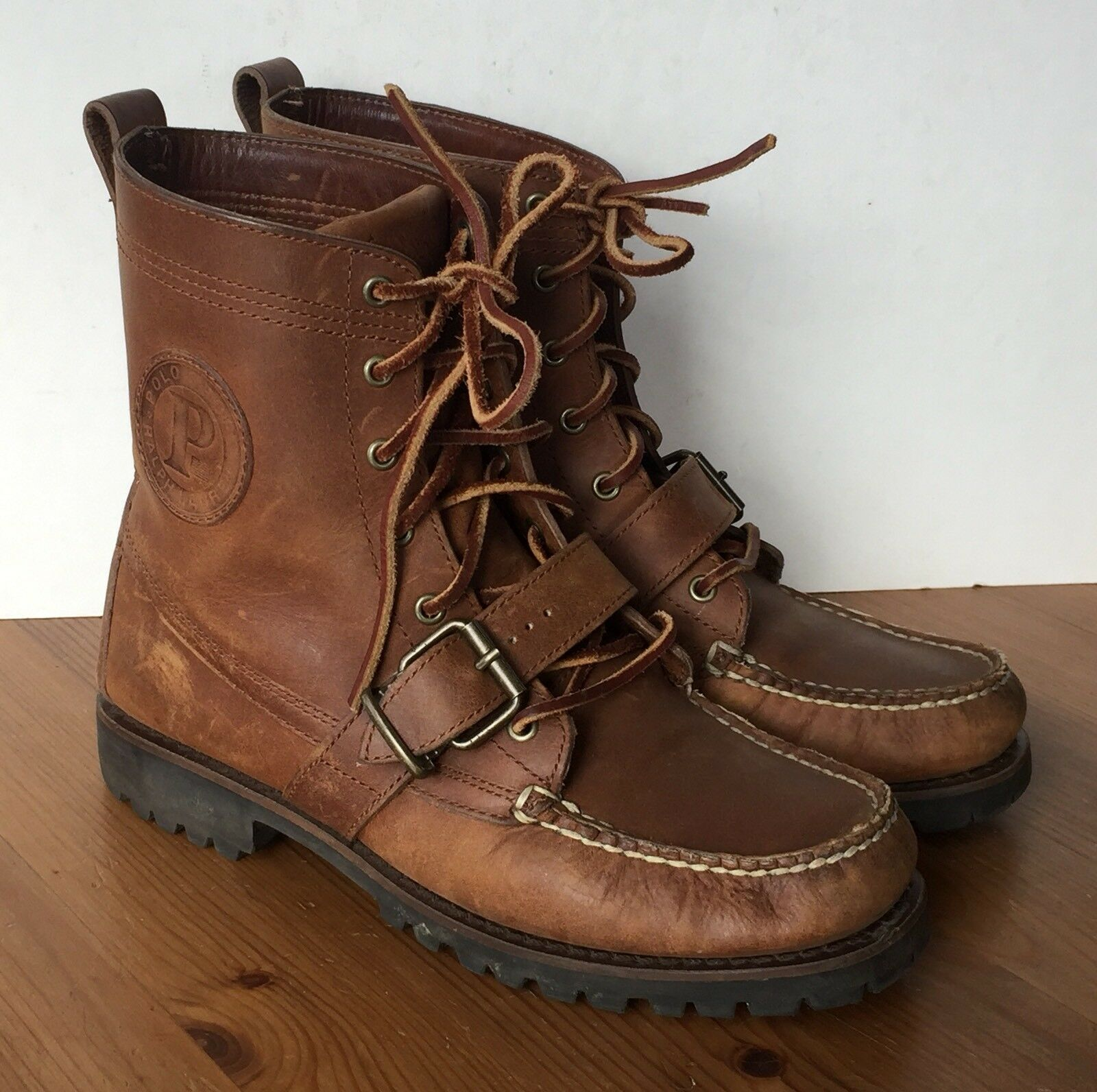 Vintage Ralph Lauren Polo Ranger Sportsman Boots Brown Leather Men's Size 8 EUC