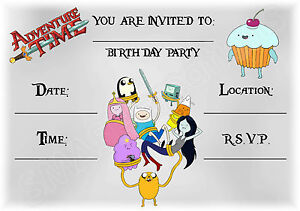 a5 kids childrens party invitations x 12 adventure time grunge