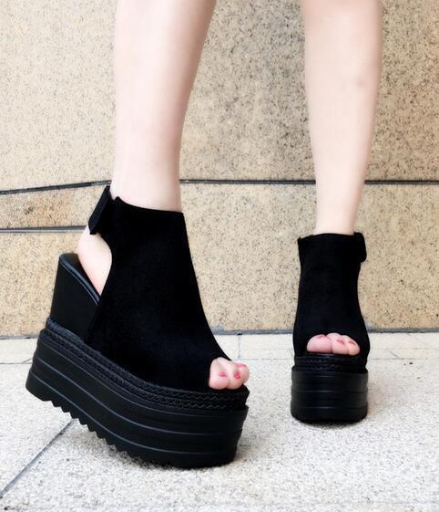 Womens European Suede Black Wedge Platform Slingback Sandals High Heel Shoes