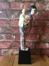 Rare Goldscheider 1923 Madame Butterfly & Child Polychrome Wien Figurine Monder