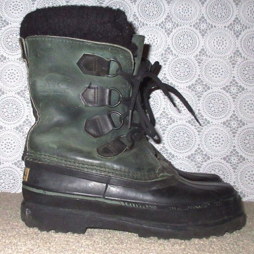 Womens Size 6 Sorel CARIBOU Green Lined Leather Rubber Lace Up Lined Green Winter Boots 1fbbd6