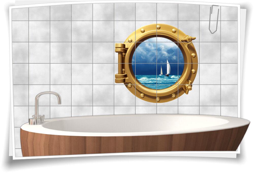 Fliesenaufkleber Fliesenbild Fliesen Bullauge Meer Stiefel Aufkleber Badezimmer