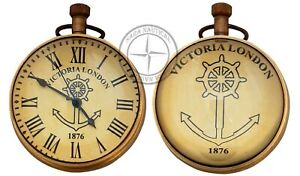 Antique-Maritime-Brass-Desk-Clock-Vintage-Nautical-Victoria-London-Anchor-Clock
