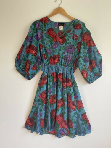 1980s Diane Freis Floral Dress Blue with Roses