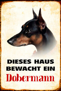 Dog-Doberman-Guarded-Home-Metal-Sign-Signboard-Arched-Metal-Tin-Sign-20-x-30-cm