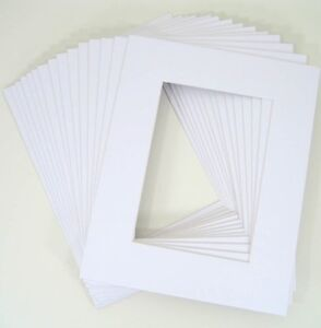 Pack-of-25-11x14-WHITE-Picture-Mats-Mattes-for-8x10-Photo-Backing-Bags