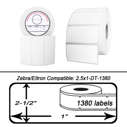 """12 Rolls//1380 Labels of 2.5x1 Direct Thermal Zebra Eltron Labels 2-1//2/"""" x 1/"""""""