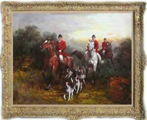 """Old Master-Art Antique Oil Painting Portrait lady hunting dog on canvas 30""""x40"""""""