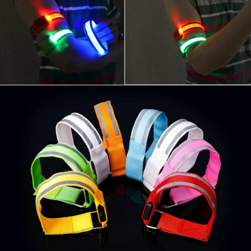 NEW LED SAFETY REFLECTIVE BELT STRAP ARM BAND ARMBAND FOR RUNNING JOGGING SPORTS