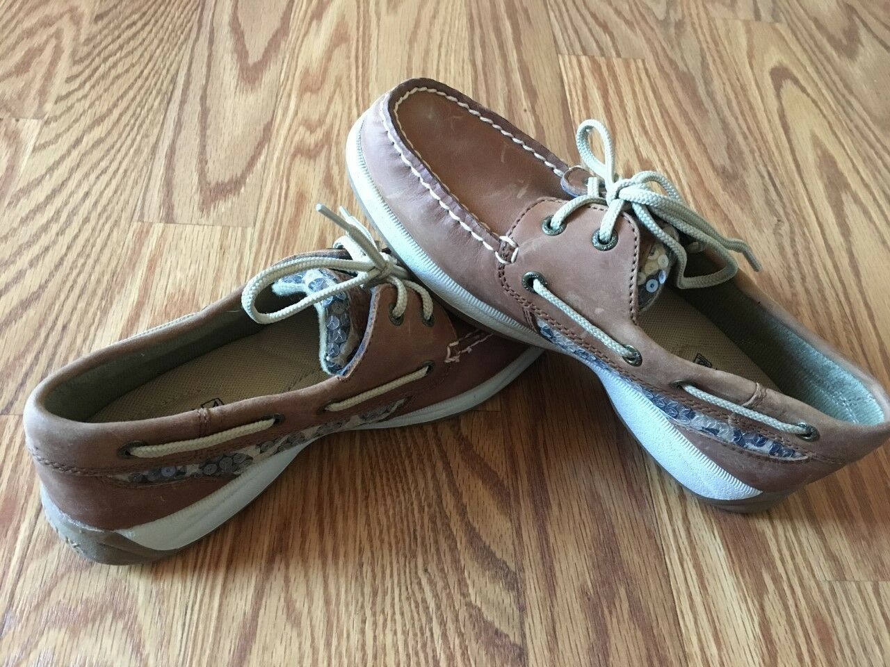 Women's Sperry Top-Sider BLUEFISH PLAID Boatshoe Moccasin Loafer Tan/ Navy sz 5