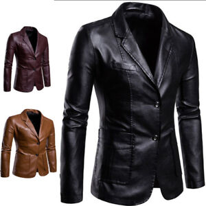 Details about Men\u0027s Casual Blazer Leather Jacket Business Formal Dress  Wedding Party Coat New