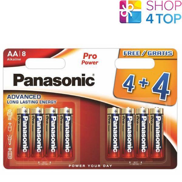 8 panasonic pro power alkaline AA lr06 batteries 1.5v mn1500 e91 8bl new