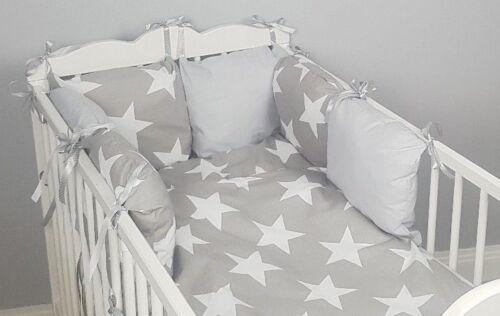 CASES grey big stars duvet cover 8 pc cot //cot bed bedding sets PILLOW BUMPER